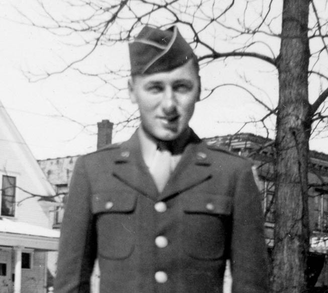 Private Mort Sheffloe prepares to leave Minneapolis, Minnesota, in March, 1944.