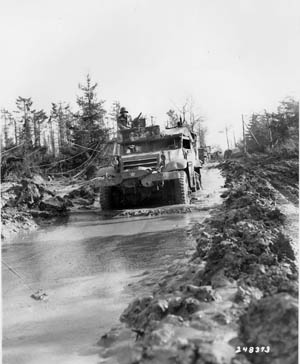 Heavy autumn rains turned forest roads into rivers of mud, making it nearly impossible for wheeled vehicles to get traction.