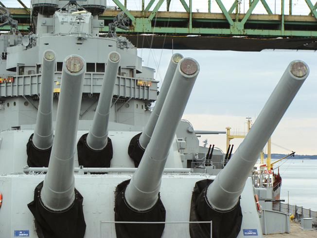 The impressive 16-inch main guns of the  USS Massachusetts.
