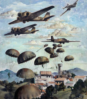 German parachute troops descend from their Junkers Ju-52 transport aircraft above the island of Crete. The capture of the airfield at Maleme was a turning point in the battle for the island and facilitated the introduction of German reinforcements.