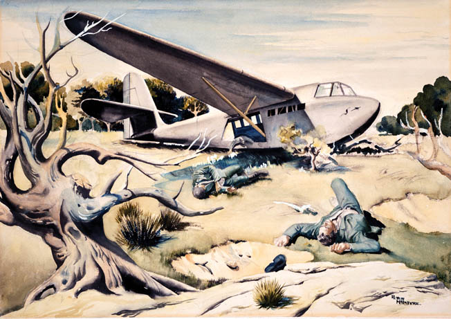 German glider troops, killed while exiting their machine, sprawl beside the fuselage in a painting by New Zealand combat artist Peter McIntyre.