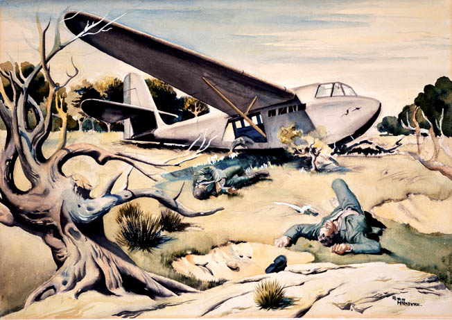 In this painting by a combat artist from New Zealand, the bodies of German airborne troops who fell under the guns of Commonwealth defenders while exiting their glider lie in the broiling Mediterranean sun. The capture of Crete cost the Germans dearly in lives and aircraft.
