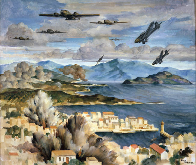 "Another painting by McIntyre shows German aircraft attacking New Zealand positions at Canea, Crete. German air superiority severely limited British ships unloading supplies except at night, and also provided ""aerial artillery"" for the German attackers once on the ground."