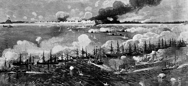 Massed Union ships bombard Fort Fisher during the final attack. Earlier bombardments did little to weaken the fort, but when the ships closed to within 700 yards on January 13, 1865, the effect was devastating to defenders.