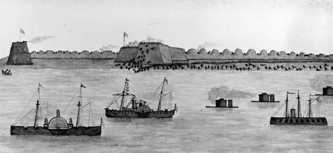 One of the battle's eyewitnesses, Ensign John Grattan, sketched this watercolor showing Union troops storming Fort Fisher as the fleet stands offshore. The side-wheeler in the center is Admiral David Dixon Porter's flagship, USS Malvern.