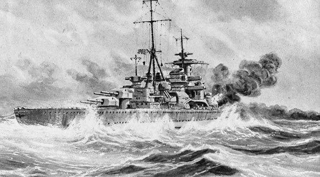 An illustration of the heavy German cruiser Admiral Hipper in action against HMS Glowworm. The British destroyer managed to ram and damage the Hipper before she was sunk.