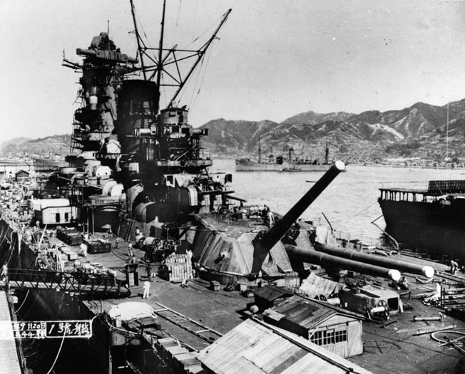 The Japanese battleship Yamato, shown in harbor during construction, along with its sister Musashi mounted the heaviest guns ever placed aboard a modern warship. These 18-inch can