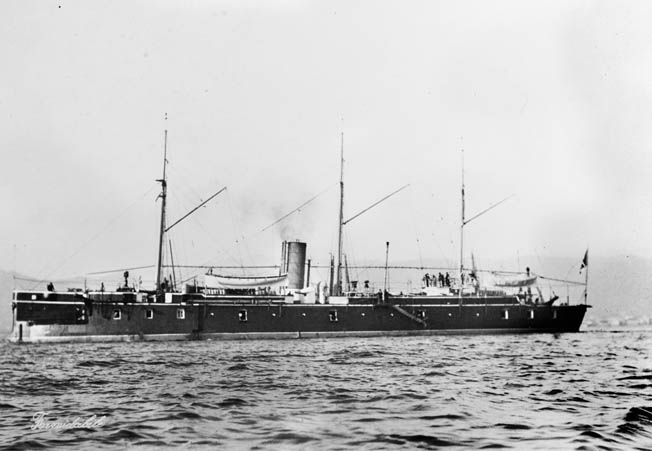 The Italian ironclad Formidable was a wooden- hulled vessel plated with iron. It boasted a battery of 20 guns in a broadside arrangement.