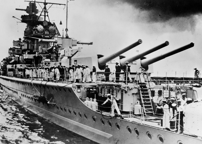 With a number of its crewmen on deck, the Graf Spee is shown in European waters in mid-1939.