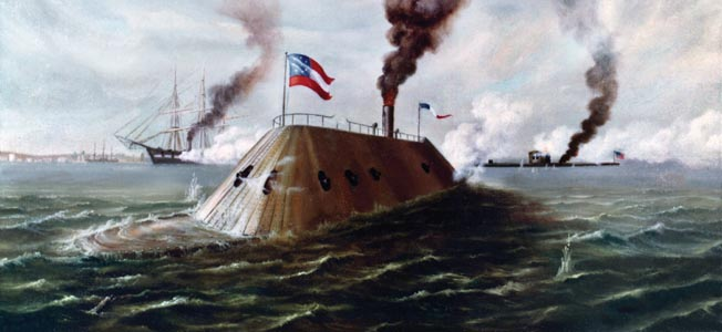 The Ironclads Painting by Raymond Bayless, depicting the battle between CSS Virginia (foreground) and USS Monitor (at right). USS Minnesota is also shown, in the left middle distance. Courtesy of the U.S. Navy Art Collection, Washington, D.C. Donation of Raymond Bayless, 1975 U.S. Naval History and Heritage Command Photograph.