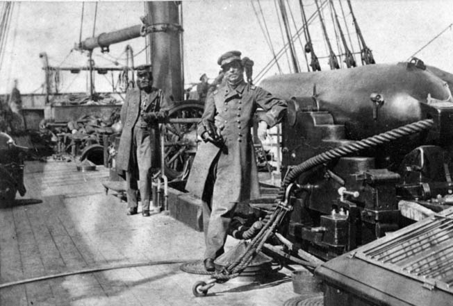 Confederate Captain Raphael Semmes, right, poses aboard Alabama with his highly efficient second-in-command, Lieutenant John McIntosh Kell, who served as the ship's executive officer.
