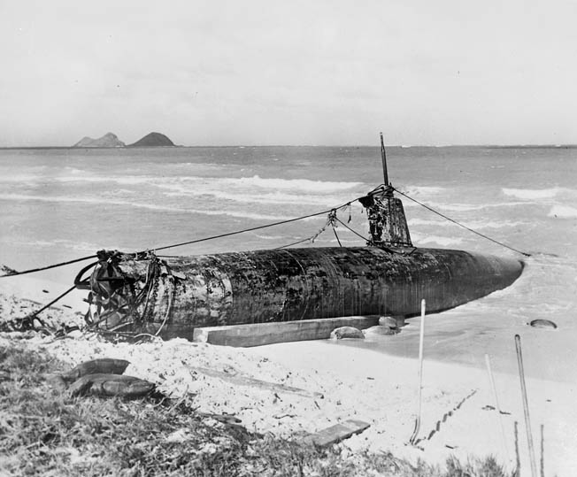 One of five Japanese Type A midget submarines that were attacked by U.S. forces lies beached at Oahu.