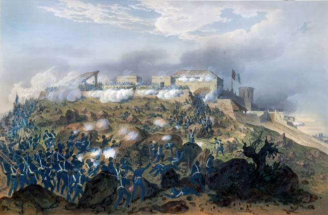 Major General Gideon Pillow's division scrambles up steep terrain in a mid-September assault on Chapultepec Castle. The formidable position was the last major obstacle before the Americans reached Mexico City.