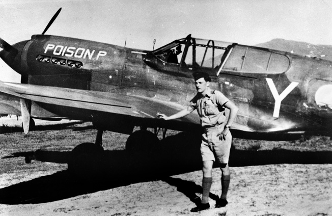"The Royal Australian Air Force's outnumbered 75 Squadron scored important victories at Port Moresby and Milne Bay, thanks to pilots such as Flying Officer Peter A. Masters and his Curtiss P-40 Kittyhawk ""Posion P."""