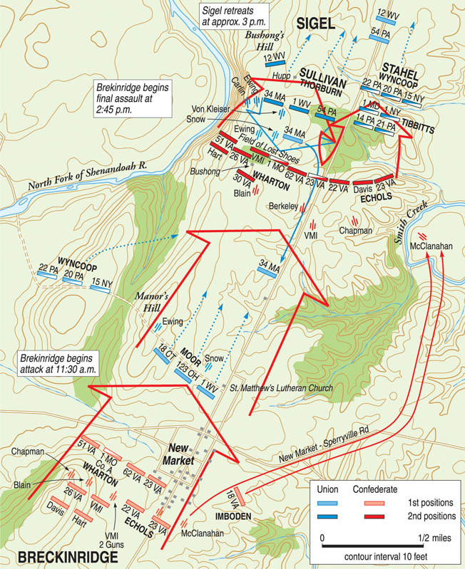 The battlefield at New Market was a box-like peninsula defined by Shirley's Hill on the south, Bushong's Hill on the north, the Shenandoah River on the west, and Smith's Creeek on the east. Heavy rains had made the creeks impassable, further constricting movement.