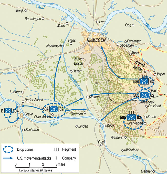 Troopers of the U.S. 82nd Airborne Division parachuted near the towns of Nijmegen and Grave, Holland, during Market Garden and proceeded rapidly toward their objectives.