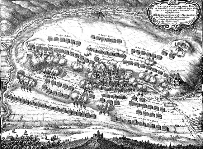 Turrene's French troops drove the Bavarian right wing from the high ground at the Second Battle of Nordlingen in 1645, contributing heavily to the French victory.