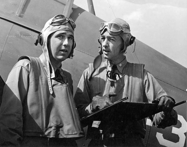 "O'Hare (left) and Lt. Cmdr. John ""Jimmy"" Thach, commander of Squadron VF-3, photographed after returning to Kaneohe Naval Air Station, Oahu, Hawaii, in April 1942."