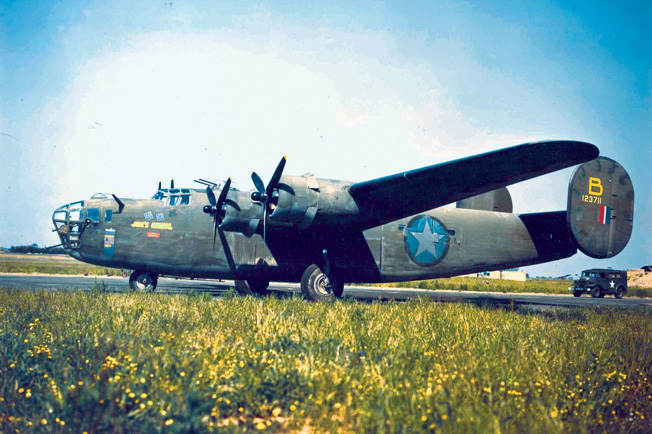 "Consolidated B-24D-1-CO (S/N 41-23711) ""Jerks Natural"" of the 93rd Bomb Group. This aircraft flew the Aug. 1, 1943, Ploesti mission. (U.S. Air Force photo)"