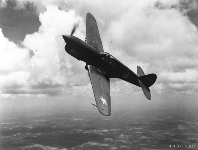 This Curtiss P-40 shown in flight is similar to those that were deployed with the U.S. Middle East Air Force during the fighting in North Africa. Pilots learned the skills needed for effective tactical air support while flying missions in support of General Bernard Montgomery's Eighth Army and the Allied forces that landed along the coast of West Africa during Operation Torch.