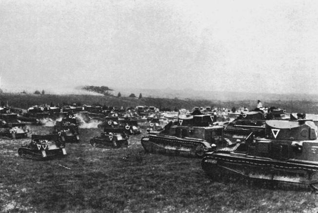 Medium tanks of Hobart's 1st Tank Brigade during close-order military exercises on southern England's Salisbury Plain, circa 1934.