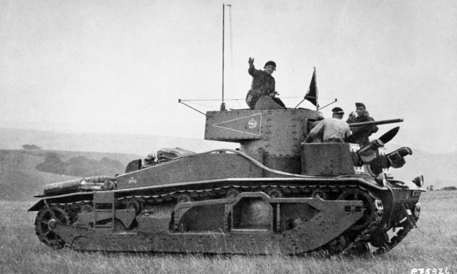 As commander of the 1st Tank Brigade, Percy Hobart was photographed on the turret of a Medium Mk.III tank during exercises in the early 1930s.