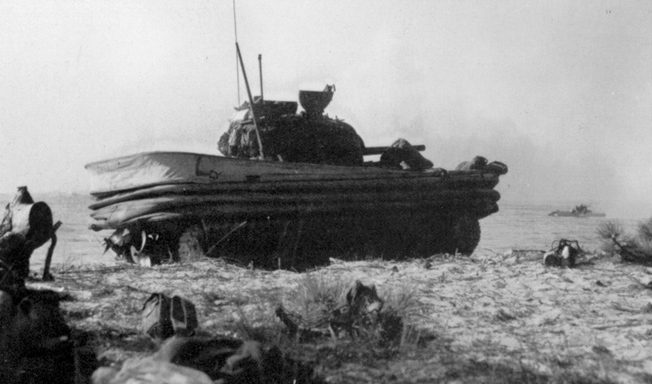 In theory, Hobart's Duplex Drive Sherman tanks, fitted with an inflatable canvas skirt, were supposed to be able to swim short distances, but rough seas at Normandy caused many of them to sink, drowning their crews.