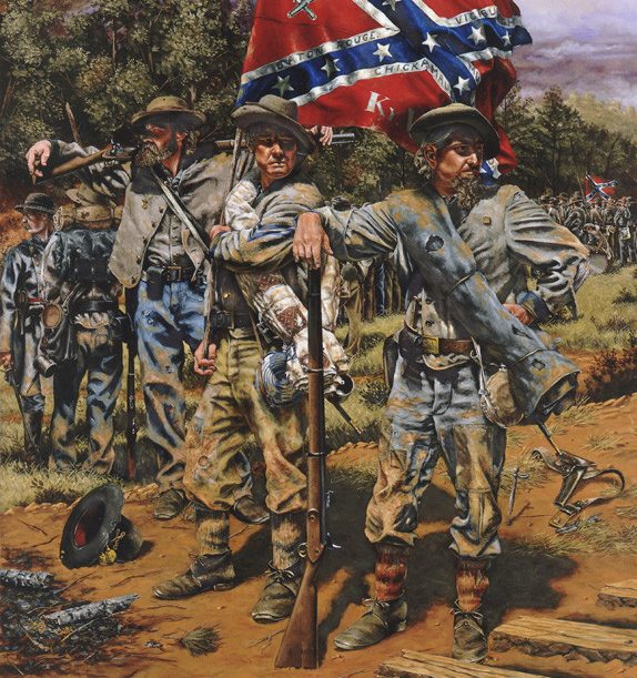 Artist Rick Reeves' painting, The Orphans, shows members of the 6th Kentucky Regiment during the 1864 Atlanta campaign. By then, the brigade had been in action for more than two years.