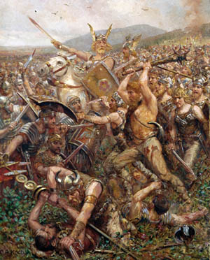 German tribesmen overrun a Roman unit. Unlike in Gaul, the lack of large urban centers and good roads in Germany made it difficult for the Romans to subjugate the scattered militaristic population.