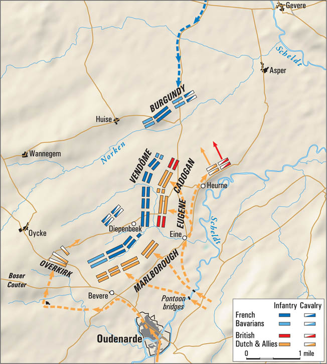 The French failed to block the fast-marching Allies from crossing the Scheldt River. Marlborough, with a special knack for battlefield tactics, turned the enemy's right flank.