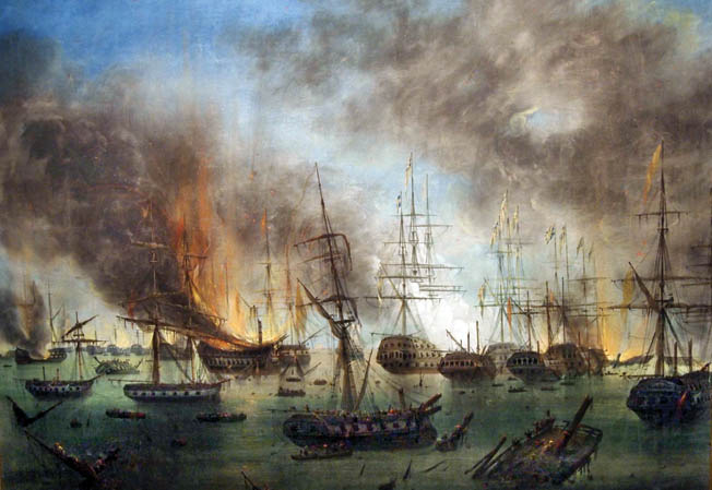 Dozens of ships at anchor fought each other at point-blank range during the harbor battle. Men died from cannon shots and bullets as well as by spreading fire and flying wooden splinters on their own damaged ships.