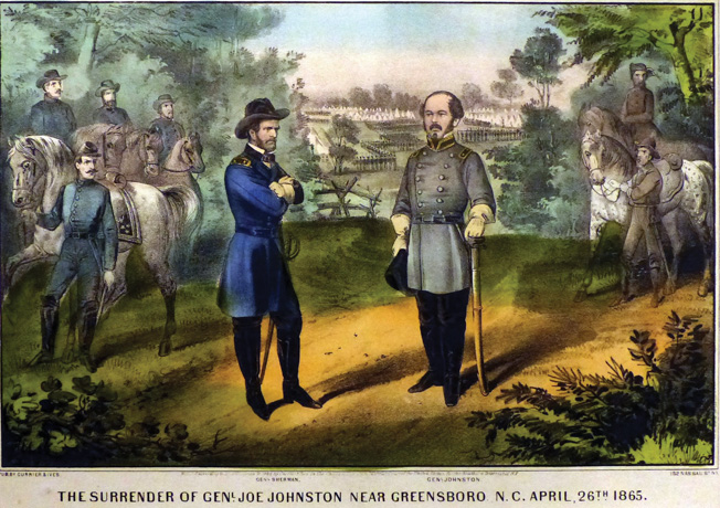 Confederate General Joseph E. Johnston, right, realized the futility of prolonging the war and urged Davis to negotiate. Johnston surrendered his own army to Maj. Gen. William Tecumseh Sherman, left, at Bentonville, North Carolina.