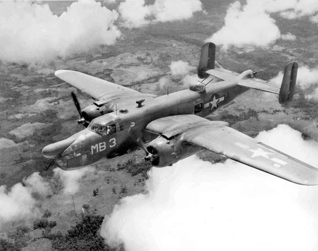 "PBJ-1D Mitchell medium bomber assigned to a Philippines-based Marine Corps bombing squadron. The elongated ""snout,"" commonly called a ""hose nose,"" encompasses the sophisticated APS-3 search radar antenna. By 1943 eight VMB squadrons had been formed."