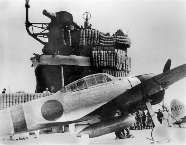 A Japanese Zero fighter aboard Akagi, photographed prior to the attack.