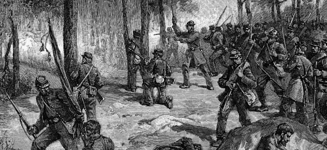 Confederate troops in Brig. Gen. George Steuart's brigade assault Culp's Hill on the morning of July 2, 1863. The Rebels captured and held the lower works, setting up a murderous counterattack by Union forces the next day.