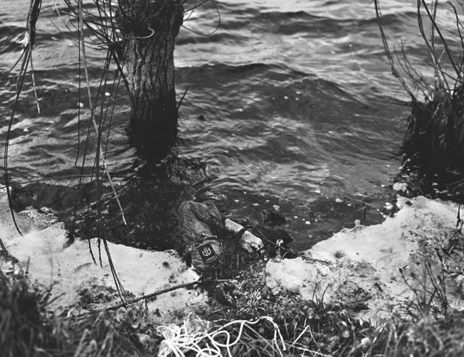 The Germans flooded miles of Normandy countryside, drowning many paratroopers, like this soldier from the 82nd Airborne Division.