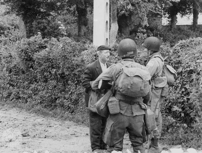 Despite facing execution if the Germans catch him, a French civilian informs American paratroopers about the situation in his village.