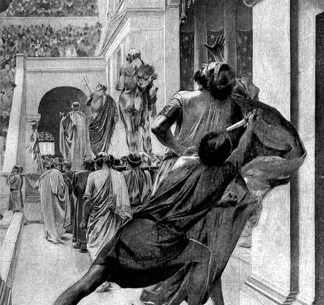 King Philip II is slain by Pausanias of Orestis, one of his seven bodyguards, as he and his entourage enter a theater.