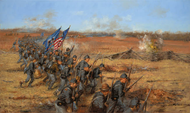 "At snowy, muddy Pea Ridge, Arkansas, just across the border from Missouri, Union and Confederate forces met to decide the fate of the ""Show Me"" State."