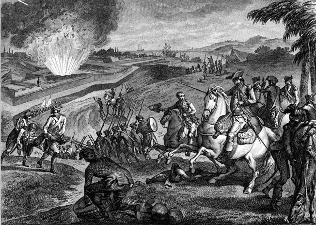 A Spanish howitzer strikes the powder magazine in the Queen's Redoubt on May 8, 1781, setting off a deadly explo- sion. With the loss of the fort's outlying works that day, the British raised the white flag over Fort George.