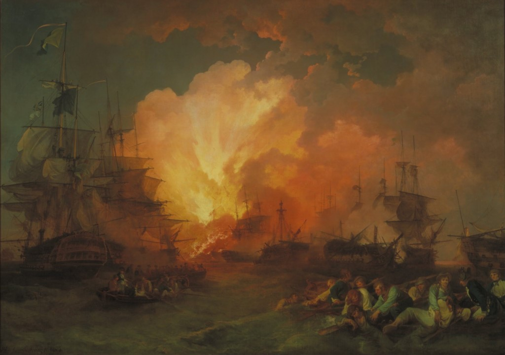 L'Orient explodes in a fireball as the fire rapidly spreads to Bruey's flagship. The explosion signaled the end of the Battle of the Nile.