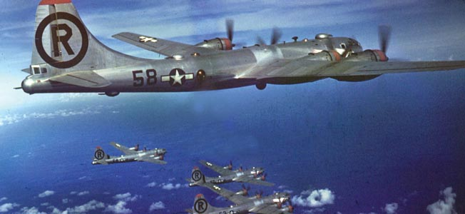 B-29 bombers flying a daylight mission to Japan.