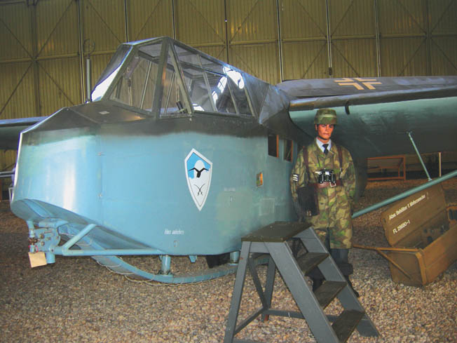 A German DFS 230 glider of the type used on the Eben-Emael assault. This glider is on display at the Berlin Gatow airfield aviation museum.
