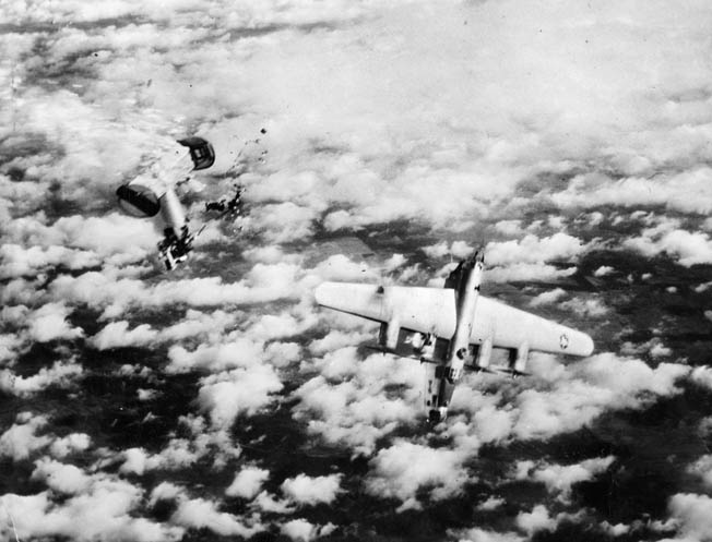 Death at 25,000 feet. A U.S. Army Air Forces B-24 Liberator bomber breaks in half and plunges to its doom high above enemy- controlled territory. The Allies did much to degrade Nazi Germany from the air, but at a heavy cost. The U.S. Eighth Air Force suffered 47,000 casualties, including more than 26,000 deaths.