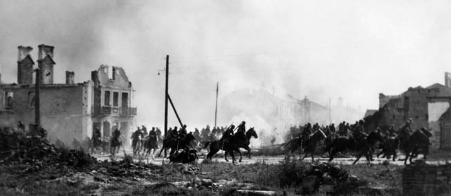 Although brave, Polish horse cavalrymen, shown here in Sochaczew in central Poland, were no match for Germany's overwhelming Blitzkrieg tactics.