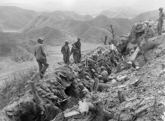 The fighting atop Pork Chop Hill was confusing with American and Chinese troops intermixed in the dense warren of bunkers and trenches.