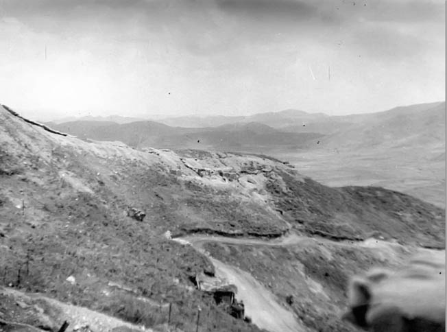 View of Pork Chop Hill reveal the rugged terrain in which the battle was fought. As the battle progressed, the Chinese gained control of the crest and directed automatic weapons fire downhill.