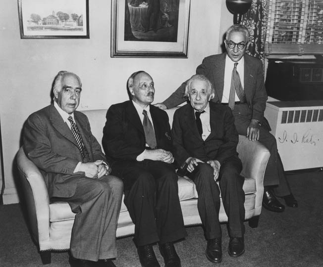 Albert Einstein (second from right) poses with atomic physicists Neils Bohr, James Franck, and Isidore Rabi in 1954. Although all four men were part of the Manhattan Project, all four expressed serious reservations about military use of nuclear weapons. They also wished to share the atomic secret with the world—a recommendation President Truman rejected.