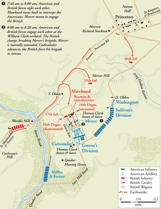 Cornwallis arrived in Trenton late in the day on January 2, but his troops were repulsed while attacking Washington's position across Assunpink Creek. That night Washington quietly pulled his troops out of Trenton and marched 12 miles north, surprising the British garrison at Princeton the following morning.