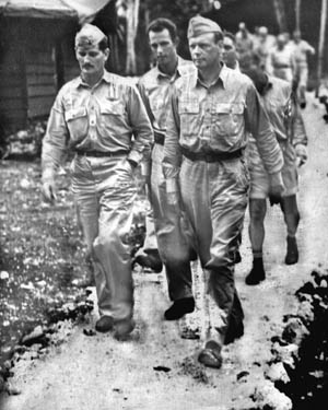Major Joe Foss (left) and Charles Lindbergh. Although a civilian consultant, Lindbergh flew some 50 combat missions.